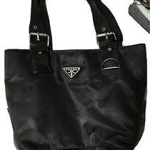 Authentic Vintage Prada Black Tessuto Nylon Leather Gold Logo Tote Hand Bag Rare Photo