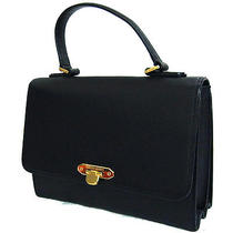 Authentic Vintage Valentino Garavani Hand Bag Purse Black Leather Photo