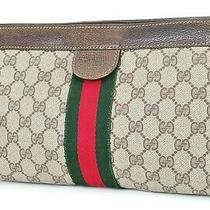 Authentic Vtg Gucci Brown Canvas and Leather Cosmetics Bag Clutch Pouch 38580 Photo