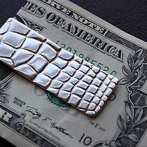 Authentic Vtg  Tiffany & Co. Sterling Silver Alligator Pattern Money Clip Photo