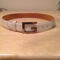 Authentic White Leather Gucci Belt 28 Photo