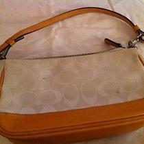 Authentic White/orange Coach Hand Bag Small W/ Bag Photo