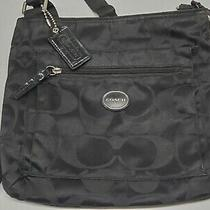 Authentic Women's Black Coach Crossbody Bag Purse Stained Interior Signature C Photo