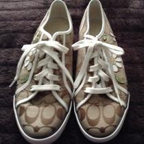 Authentic Women's Coach Dee Flower Applique Sneakers Q991 Sz 9.5 B Photo