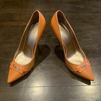 Authentic Women's Dolce & Gabbana Orange Pumps Heels Size 37 Made in Italy Rare Photo