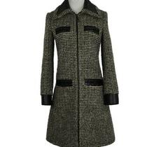 Authentic Womens Louis Vuitton Black Beige Green Tweed Coat sz.fr 34 Photo
