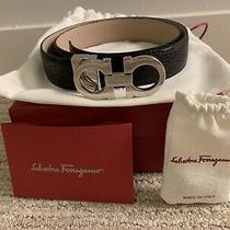 Authentic Womens Salvatore Ferragamo Belt Black/ Beige Leather Silver Hardware Photo