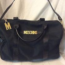 Authentic Womens Vtg Moschino Redwall Nylon & Leather Bag Gold Letters Photo