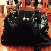 Authentic Ysl Yves Saint Laurent Black Patent Large Muse Tote Bag Purse Handbag  Photo