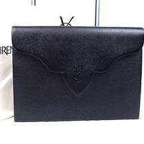 Authentic Yves Saint Laurent Black Color Leather Logo Design Clutch Bag Purse  Photo