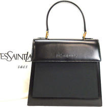 Authentic Yves Saint Laurent Black Leather Satin Top Handle Handbag W/dust Bag Photo