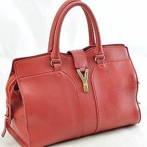 Authentic Yves Saint Laurent Cabas Leather Hand Bag Red 15734 Photo