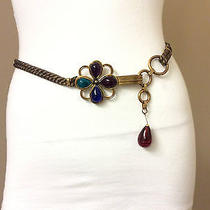 Authentic Yves Saint Laurent Gold Rope and Hardware & Multicolor Gripoix Belt Photo