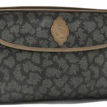 Authentic Yves Saint Laurent Leopard Clutch Bag Pvc Leather Brown White B0329 Photo
