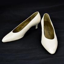 Authentic Yves Saint Laurent Shoes Pumps Leather White 34 1/2 Vintage 08j285 Photo