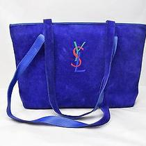 Authentic Yves Saint Laurent Tote Bag  Blue Leather 87772 Photo