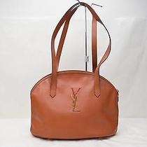 Authentic Yves Saint Laurent Tote Bag  Browns Leather 87771 Photo