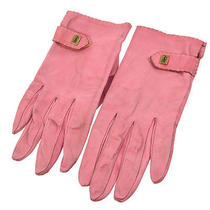 Authentic Yves Saint Laurent Vintage Logos Gloves 19 Pink Leather Ak12750 Photo