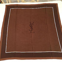 Authentic Yves Saint Laurent/ysl Chocolate Brown 100% Silk Scarf Wrap Shawl  Photo