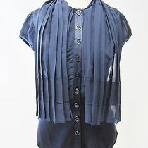 Authentic Zac Posen Navy Blue Silk Cap Sleeve Button Front Pleated Shirt Top 4 Photo