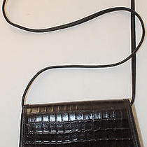 Authentic Zippi Leather Croc Embossed Brown Cross Body Handbag Purse Shoulderbag Photo