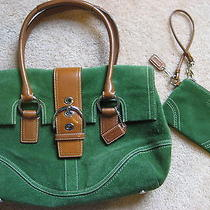Authetic Coach Green Suede Handbag - With Matching Green Suede Wristlet  Nice Photo