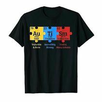 Autism Awareness Puzzle Chemical Element T-Shirt Funny Black Cotton Tee Gift Men Photo