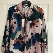Autograph Marks & Spencer Tie Dye Blush Pink Silk Blouse Top Size 8 Bnwt Photo