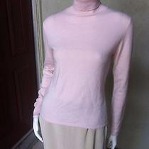 Autumn Cashmere 100% Cashmere Beige Pink Off White Turtleneck Sweater L Large Photo
