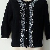 Autumn Cashmere 100% Cashmere Black Beaded Cardigan Sweater Size M Photo