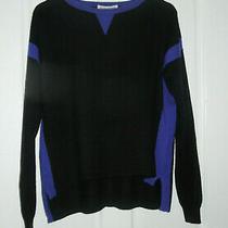 Autumn Cashmere Black and Blue Cashmere Jumper. Size L  Photo
