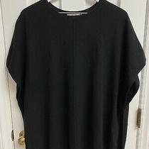 Autumn Cashmere Black Poncho Sweater Cream Stripe Size Xs/s Photo