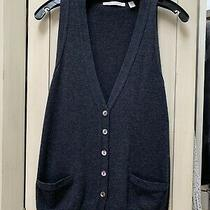 Autumn Cashmere Sweater Vest Button Front Blue Gray Heather Sz Xs Small Photo