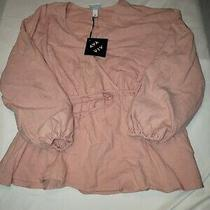 Ava & Viv Womens Blush Pink Long Sleeve v Neck Blouse Size 1x Belted  Photo