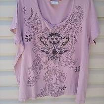Avenue Plus Size Top 26/28w Blush Pink Embelised Special Tees- Gorgeous Photo