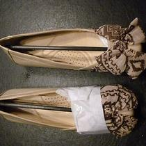 Avenue Tory Fancy Flats Beige With Scarf Bow Embellishment - 8w Photo