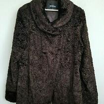 Avenue Womens Jacket Brown Faux Persian Lamb Pockets Hook Close Lined Size 18/20 Photo