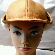 Aviator Pilot Handmade Genuine Leather With Lamb Fur  Winter Hat M Size Photo