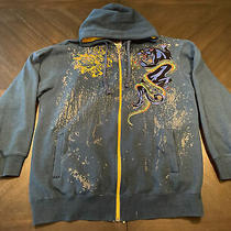 Avirex Mens Graphic Embroidered Detailed Blue Zip Hoodie Sweatshirt Rare Xl Photo