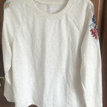 Avon 10/12 Cream Jumper/loungewear Top With Floral Shoulders Photo