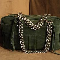 Avon - 100% Green Suede Leather Purse W/double Chain Handles -Double Zip Storage Photo