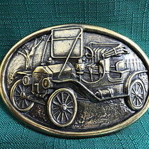 Avon-Americana Belt Buckle-Brass Plated-Early American Cars-Nib Photo