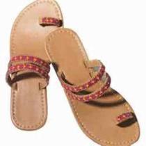 Avon Bead Embellished Toe Loop Sandals - Size 6 - Brand New Unworn - Ships Free Photo