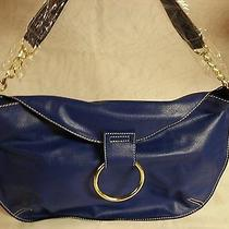 Avon Big Ring Handbag - Blue Colored With Gold Ring and Chain Strap Photo