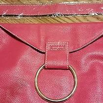 Avon Big Ring Hot Pink Pebble Leatherlike Handbag Purse-Nip Gold Chain Photo