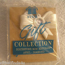 Avon Birthstone Acrylic Bow Keychain April - Diamond White Pearlized Plastic   Photo