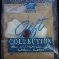 Avon Birthstone Acrylic Bow Keychain January Garnet Nip Photo
