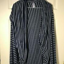 Avon Blue Gray Striped Open Cardigan Sweater Jacket Multi Looks 1x/2x Photo