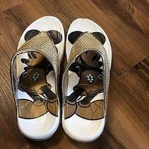 Avon Brand New Women's Disney Mickey Mouse Gold Sequence Flip Flops 5/6 Photo