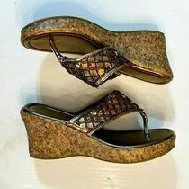 Avon Brown Metallic Sandals Beaded Flip Flop Size 8 Wedge Shoes Faux Cork Heels Photo